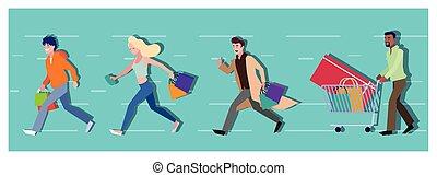 persone, shopping, vettore, disegno