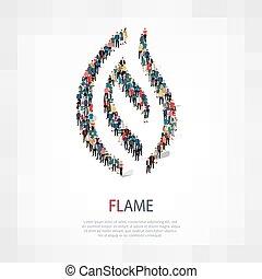 persone, simbolo, fiamma, 3d