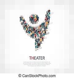 persone, simbolo, teatro