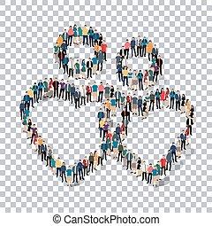 persone, simbolo, trasparenza, uomo, 3d