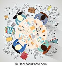persone, sopra, fondo, vista, busienss, intorno, sittin, schizzo, cima, scrivania
