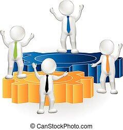 persone, sopra, lavoro squadra, logotipo, ingranaggi, 3d