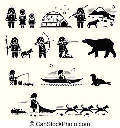persone, stile di vita, eschimese, animals.