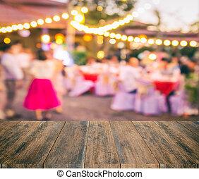 persone, struttura, sfocato, legno, fondo, festa, evento