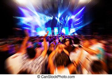 persone, su, concerto musica, discoteca, festa.