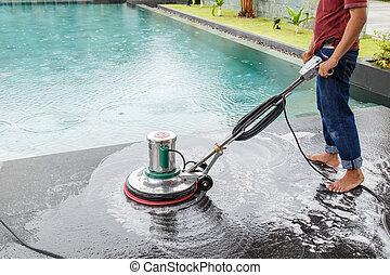 persone tailandesi, pulizia, nero, granito, pavimento, con, macchina, e, chemic