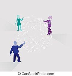 persone, teamwork., schematico, lavoro, insieme, cartone animato, solution., rete, differente, squadra, sviluppare