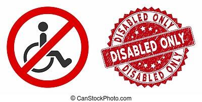 persone, textured, invalido, soltanto, no, icona, sigillo