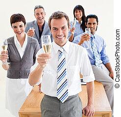 persone, tostare, affari, champagne, internazionale
