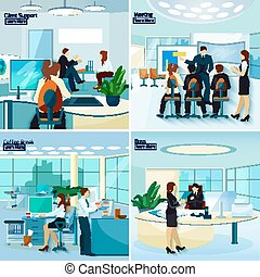 persone ufficio, 2x2, disegno, concetto