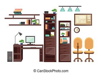 persone ufficio, no, posto lavoro, workspace, scrivania, interno, vuoto
