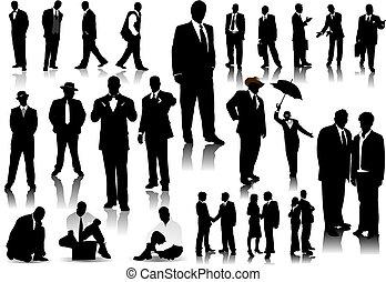 persone ufficio, silhouettes., vettore, con, uno, scatto,...