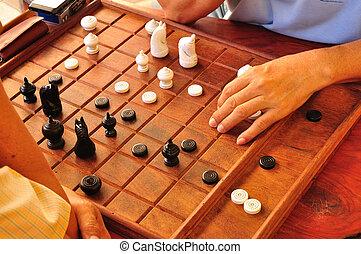 persone, uomini, o, scacchi, tailandese, gioco