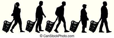 persone, vettore, cesti, silhouette., illustrazione, set, shopping