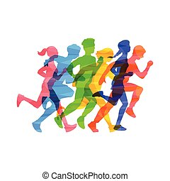persone, vettore, illustrazione, folla, maratona, isolated., corsa, astratto, effetto, colorare