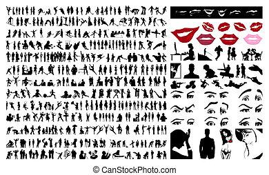 persone., vettore, silhouette, illustrazione, 360