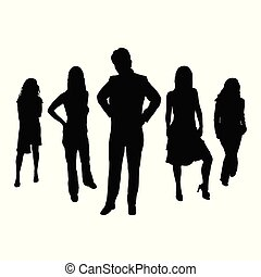 persone, vettore, silhouette, illustrazione