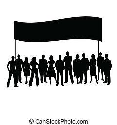 persone, vettore, silhouette
