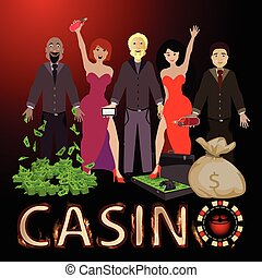persone, vincere, casinò, dollaro, borsa, mazzo