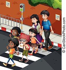 persone, zebra, strada