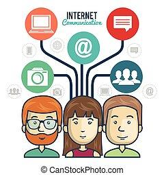 personen, anschluss, grafik, gruppe, internet