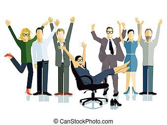 Personen Freuden.eps - Business people celebrating a...