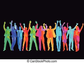 Personen freuen sich.eps - Cheerful in the group
