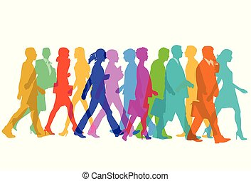 Personen gehen.eps - Colorful group of people are walking