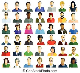 Personen Gesichter.eps - People faces portrait, illustration