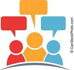 personen, groep, drie, logo., mensen