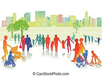 Personen im Summer - Summer leisure in the city