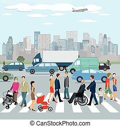 Personen in der Stadt.eps - people walking on the crosswalk...