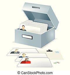 Personen Kartei.eps - Database, file folder illustration