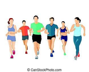 Personen Laufen.eps - A group of runners, illustration