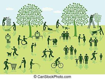Personen-Park.eps - City park. Vector illustration