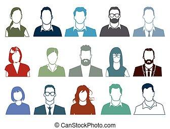 Personen Potrait.eps - People faces portrait illustration