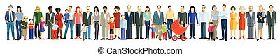 Personen Reihe.eps - Group Of People In Line, Crowd