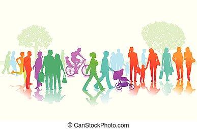 Personen Strassenszene.eps - colorful people in the city