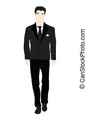 personen, zwart kostuum