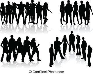 personengruppe, -, abbildung, groß, silhouetten, vektor