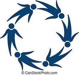 personengruppe, fliegendes, -, vektor, druck, logo.
