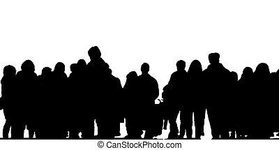 personengruppe, foto, freigestellt, hinterer blick