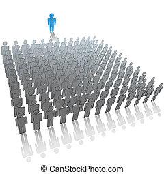 personengruppe, groß, publikum, sprecher, reden, führer