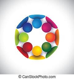 personengruppe, kinder, gemeinschaft, oder, vektor, kreis, spielende
