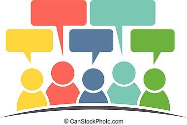 personengruppe, medien, vektor, design, comments., sozial, logo