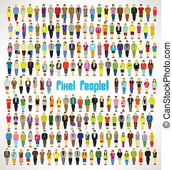 personengruppe, versammeln, groß, vektor, design, pixel