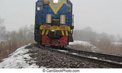 personenzug, auf, der, eisenbahn, in, t