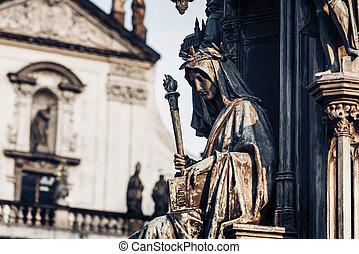 personificación, checo, IV, Charles, Praga, decoración,...