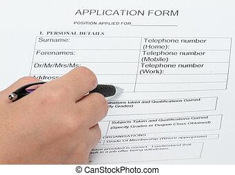 personlig, ansøgning, detaljer, form
