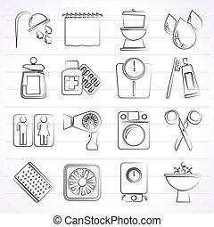 personlig, badrum, omsorg, ikonen